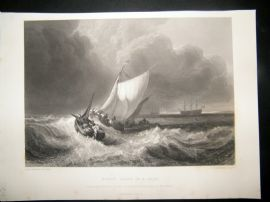 After Turner 1862 Antique Print, Dutch Boats in a Gale, Maritime, Art Journal